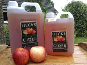 Heck's Dry Cider, 2 litre, plastic container.