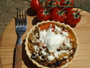 Gluten Free Roasted Veg and Goats Cheese Tart, single portion. Frozen