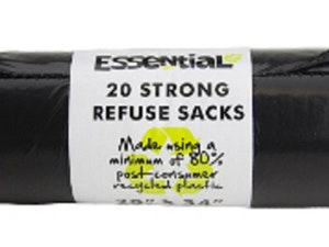 Refuse Sacks, Heavy Duty, Recycled, 20 Sacks
